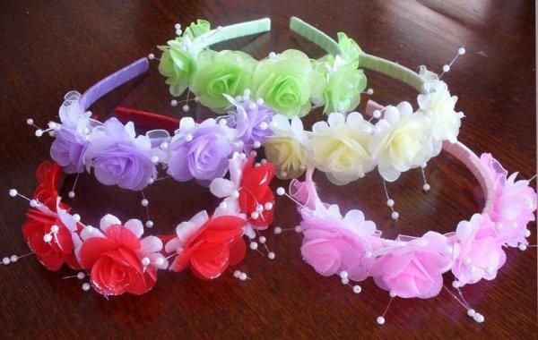 画像1: カラフルカチューシャ(ピンク・赤・黄・紫・緑の中からお選びください) (1)