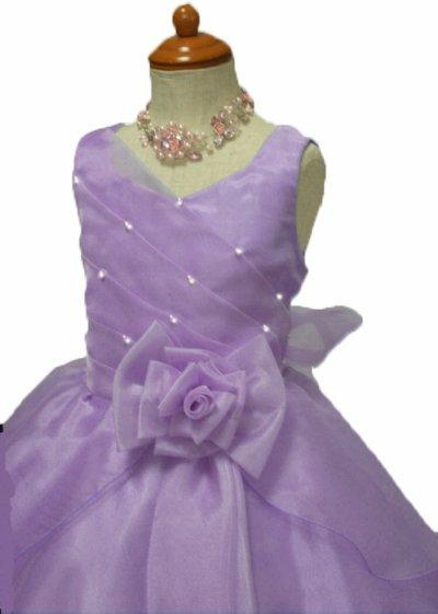 画像1: 子供ドレス サフラン(紫)発表会 バレエ衣装 ジュニアドレス 七五三 女の子 ドレス