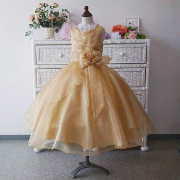 画像1: 子供ドレス サフラン(ゴールド)ジュニアドレス (1)