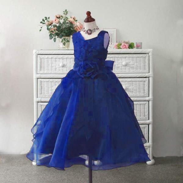 画像1: 子供ドレス サフラン(ミッドナイトブルー)結婚式/バレエ衣装/発表会/お値打ち/フォーマルドレス/ジュニアドレス (1)