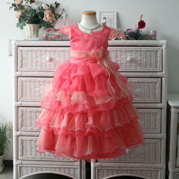 画像1: 子供ドレス ティアードスカート ふりふり ゴージャス キッズドレス プリンセス お値打ち コンクール (1)
