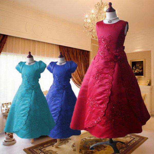 画像1: 子供ドレス ロングドレス クランベリー キッズドレス コンクール (1)