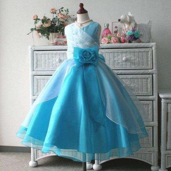 画像1: 子供ドレス サフラン(スノーブルー)バイカラー コンクールドレス ジュニアドレス 新作 (1)