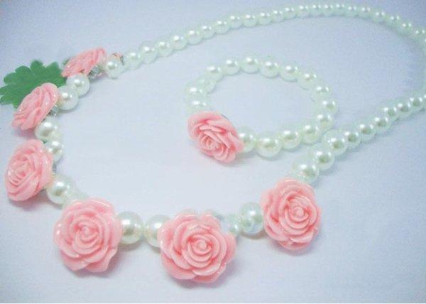 画像1: 薔薇がかわいい子供用ネックレス (1)