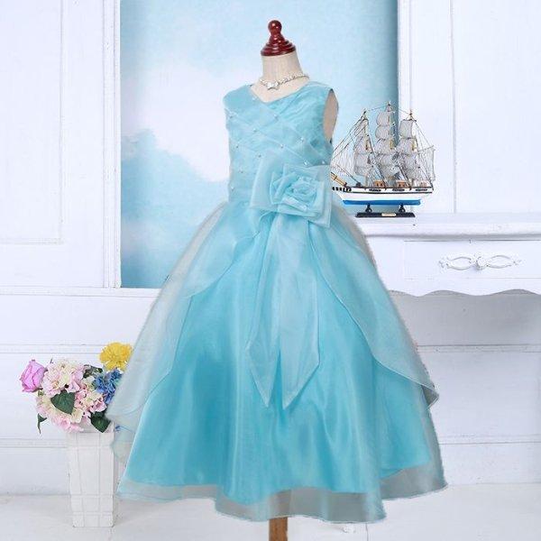 画像1: 子供ドレス サフラン(ライトブルー)結婚式/バレエ衣装/発表会/お値打ち/フォーマルドレス/ジュニアドレス (1)