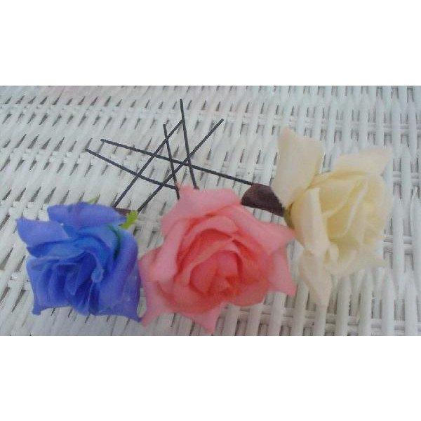画像1: お花のコサージュ 髪留め ピン 髪に刺すタイプ (1)