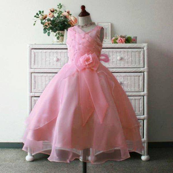 画像1: 子供ドレス キッズドレス サフラン 桜色 ピンク (1)