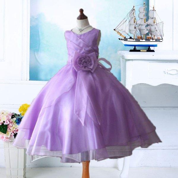 画像1: 子供ドレス サフラン(紫)発表会 バレエ衣装 ジュニアドレス 七五三 女の子 ドレス (1)