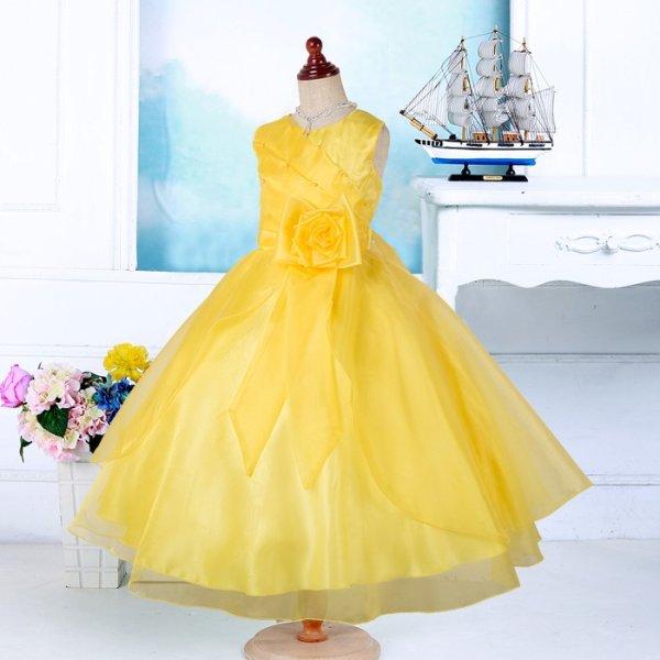 画像1: 子供ドレス サフラン イエロー 発表会 七五三 キッズドレス ジュニアドレス (1)
