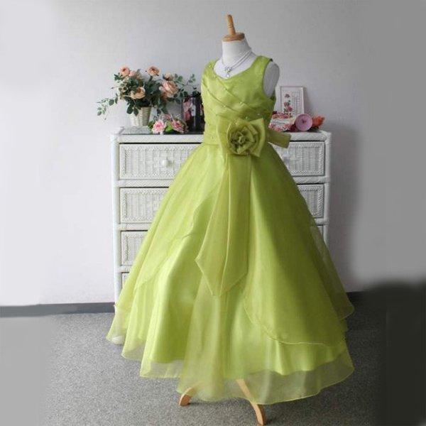 画像1: 子供ドレス サフラン(オリーブグリーン)結婚式/バレエ衣装/発表会/お値打ち/フォーマルドレス/ジュニアドレス (1)