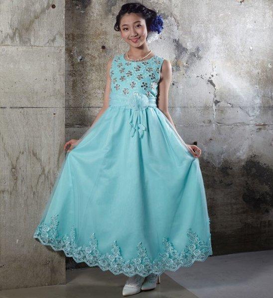 画像1: 子供ドレス  ロング 上品なフォーマルドレス ピアノ 発表会 (1)