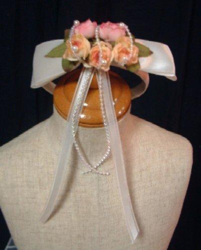 画像2: 薔薇の花のtカチューシャ(白・ピンク)子供用カチューシャ/ドレス/子供ドレス/激安 良品 ゴージャス ゴム