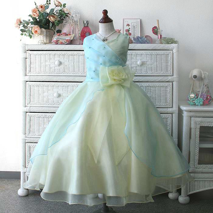 9156aa615d94c 子供ドレス キッズドレス サフラン オーロラブルー  sfmizuiroyellow