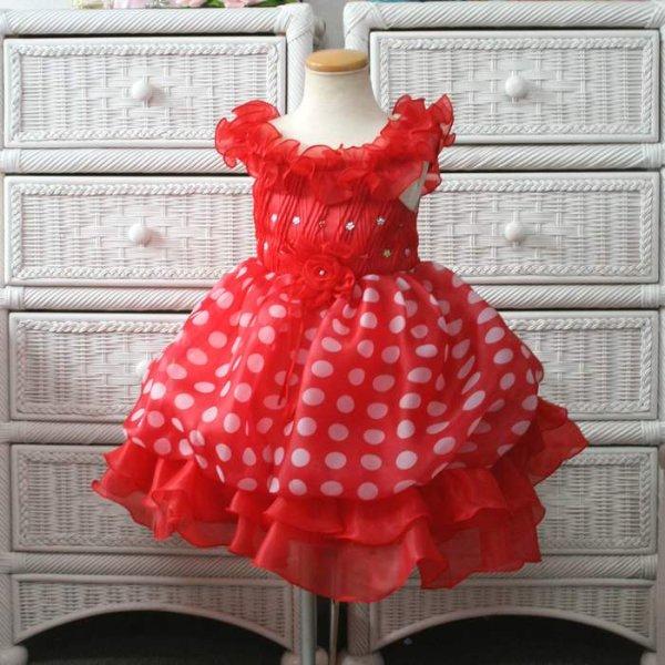 画像1: 子供ドレス 人気ミニーちゃんドレス ふわふわドット バルーンドレス キッズドレス/プリンセス/バレエ衣装 (1)