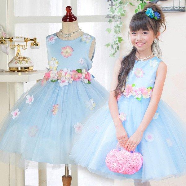画像1: 子供ドレス ブルーフラワー お花畑みたい フォーマル 発表会 ハロウィーン 七五三 (1)